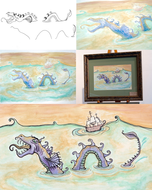 watercolor sea dragon process
