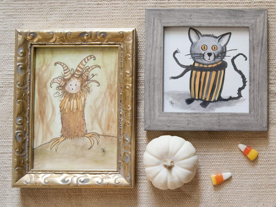 Cat and Forest Spirit Halloween Art