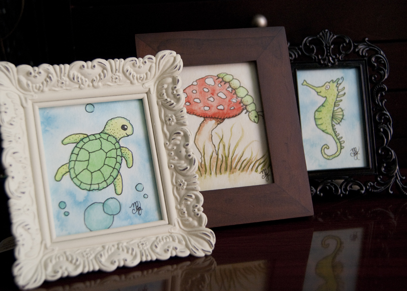 Framed Mini Watercolor Illustrations
